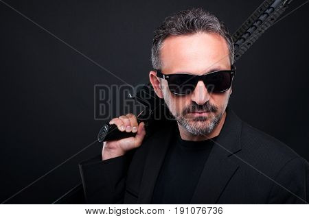 Portrait Of Mafia Member With Gun Machine