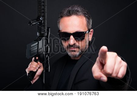 Armed Mafia Boss Pointing You With Finger