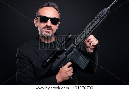 Mafia Gangster Showing His Firearm