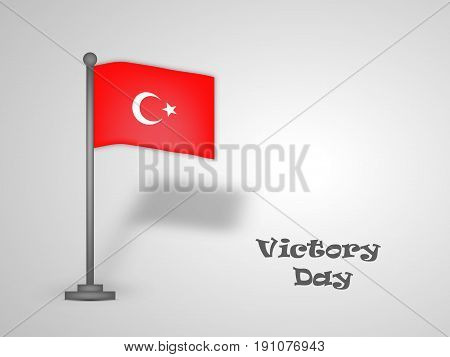 illustration of turkey flag with Victory Day text on the occasion of turkey independence day