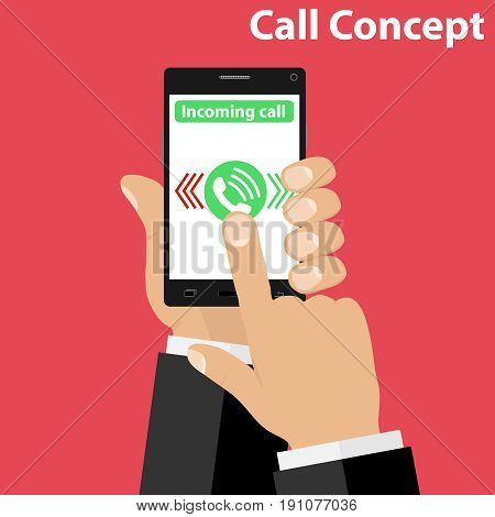 Incoming call receiving an incoming call. Hands hold the phone. Flat design vector illustration vector.