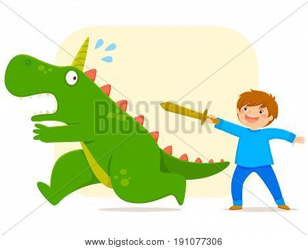 little boy with a wooden defeating a monster