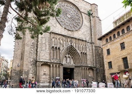 BARCELONA SPAIN - APRIL 19: Church Santa Maria del Pi in place del Pi on April 19 2017 in Barcelona