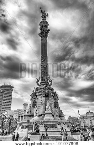 BARCELONA SPAIN - APRIL 19: Columbus monument in La Rambla on April 19 2017 in Barcelona