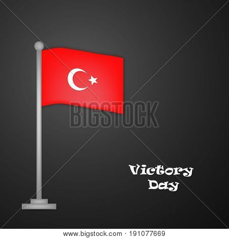 illustration of turkey flag with Victory Day text on dark black background on the occasion of Turkey independence day