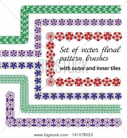 Set of 6 vector floral pattern brushes with outer and inner corner tiles. Monochrome decorative brushes. All brushes available in brushes palette