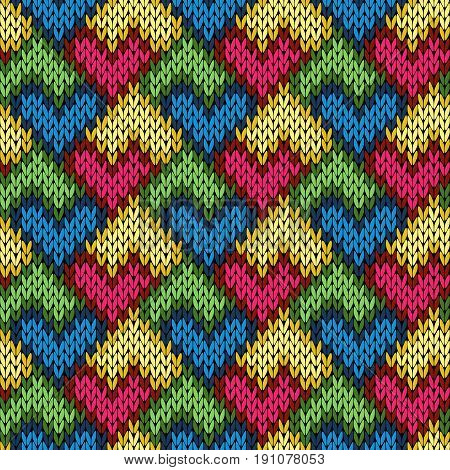 Knitting Seamless Patchwork Heart Pattern