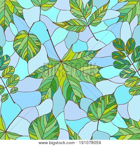 Seamless pattern with green leaves. Seamless background with maple acacia acer and linden leaves in stained glass style