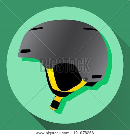 Vector grey ski and snowboarding protective helmet with yellow straps. Isolated icon.
