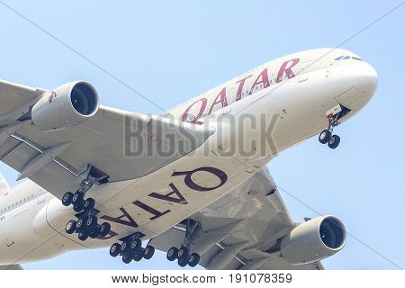 Bangkok, Thailand. - April 22, 2017 : Plane of Qatar Airways or Airlines on the sky landing to Suvanabhumi airport.