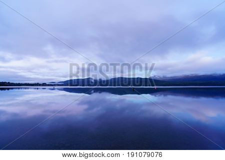 Lake Te Anau is the second-largest lake in New Zealand with reflection in twilight South Island of New Zealand