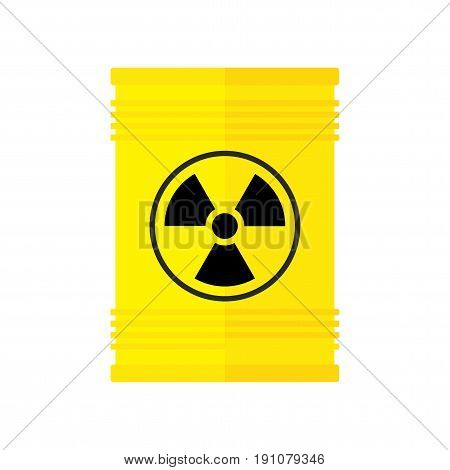 Seamless pattern of yellow barrel with nuclear, radioactive waste. Toxic chemical waste storage from power plant. Flat vector cartoon illustration. Objects isolated on a white background.