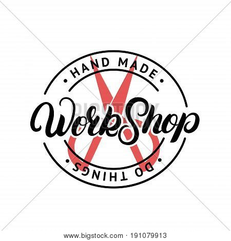 The hand drawn elements to create a logo handmade workshop. Vintage label. Retro symbols for local sewing shop, knit club, handmade artist or knitwear company. Vector illustration