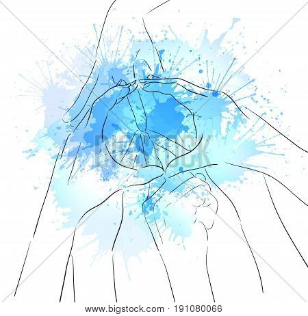 Contour illustration of human hands sign of peace and watercolor splashes. Gesture. Unity. Vector illustration for your creativity