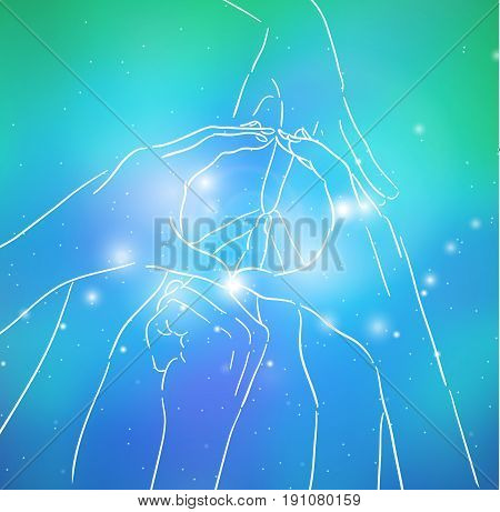 Contour illustration of human hands sign of peace and sparks on blurred background. Gesture. Unity. Vector illustration for your creativity