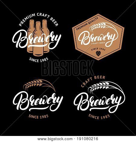Set of Brewery hand written lettering logo, label, badge, emblem for beer house, bar, brewing company. Hand written lettering. Vintage retro style. Vector illustration.
