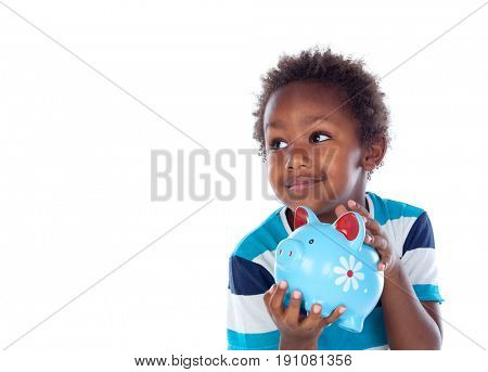 Beautiful afroamerican child with a blue moneybox isolated on a white background