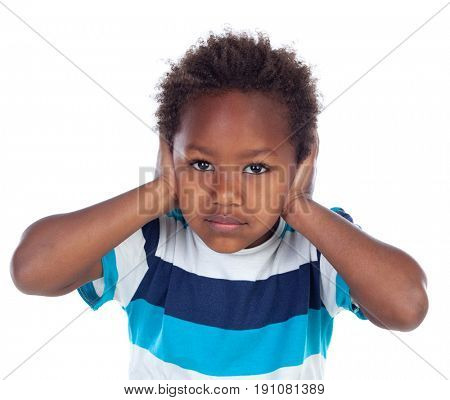 African child covering his ears isoalted on a white background
