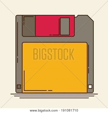 Magnetic floppy disc. Flat icon vector for web