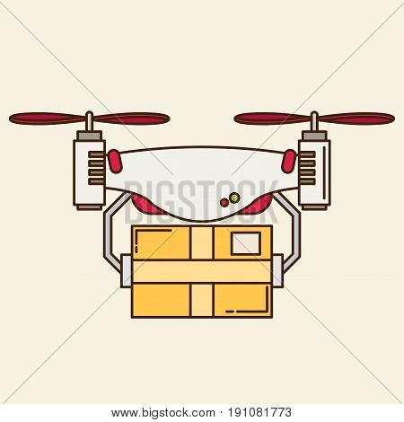 Remote air drone with a box in flat style