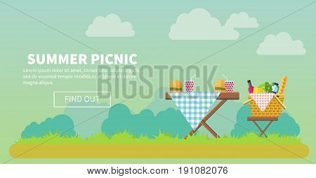 Outdoor picnic in park vector flat style illustration. Table covered with tartan cloth with chairs. Hamburgers and drinks on the table. Picnic basket filled with food on the chair. Copyspace