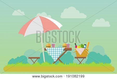Outdoor picnic in park vector flat style illustration. Table covered with tartan cloth with chairs and umbrella. Hamburgers and soda on the table. Picnic basket filled with food on the chair.