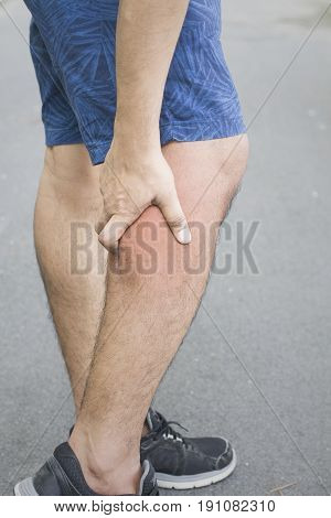 calf muscle pain white background calf injury