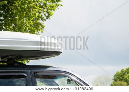 Plastic Luggage Compartment On A Car Roof