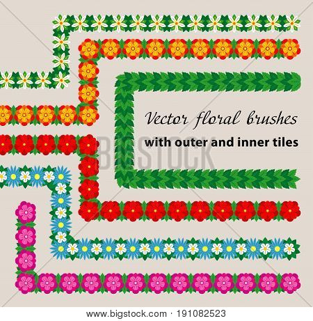 Set of six vector floral pattern brushes with outer and inner corner tiles. All brushes available in brushes palette