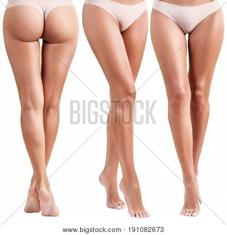 Collage of perfect female legs. Healty and fit legs of young woman. Isolated on white.