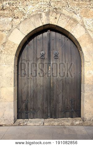 Old door in city of Paralimni. Cyprus