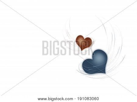 Two hearts on a white background .