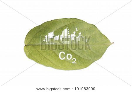 factory industrial and co2 text on green leaf isolated on white background.