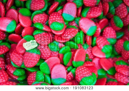 A lot of Gummy Strawberries Brightness in market