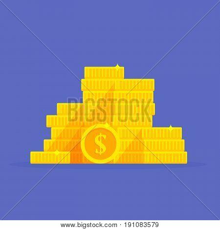 Gold coins stack dollar symbol. Money pile cartoon vector illustration.