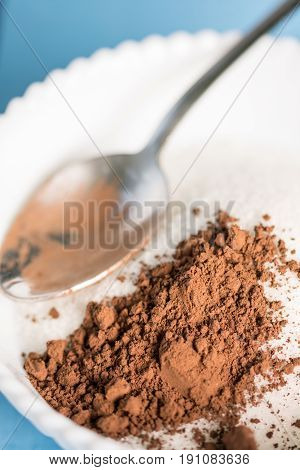 Crustal Sugar With Cocoa Powder With Spoon In The Bowl