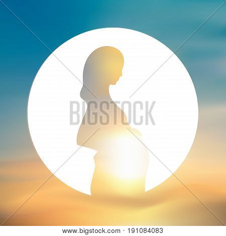 Expecting, pregnant mother silhouette in a white circle. Blurred sky background