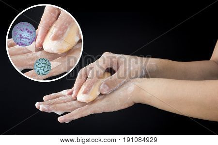 wash dirty hand cleaning dirt and bacteria