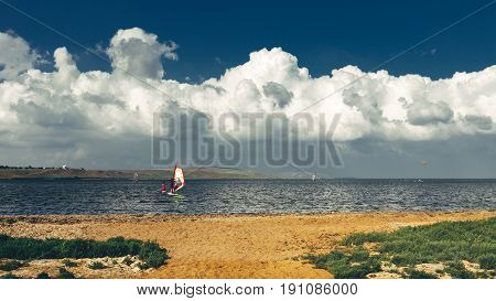 Training In Windsurfing Lessons Summer Holiday Vacation Surfing Concept