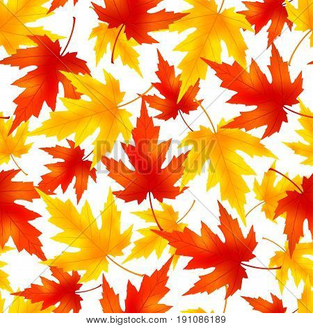 Beautiful nature background seamless pattern with yellow orange red autumn falling leaves. Bright stylish colorful wallpaper. Vector illustration