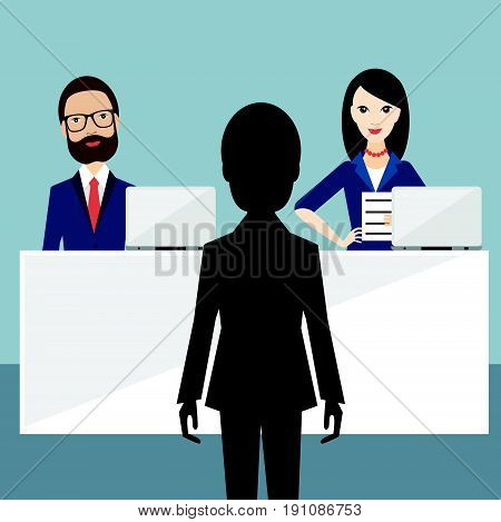 Job interview in office. Officers and candidate. Flat vector ilustration.