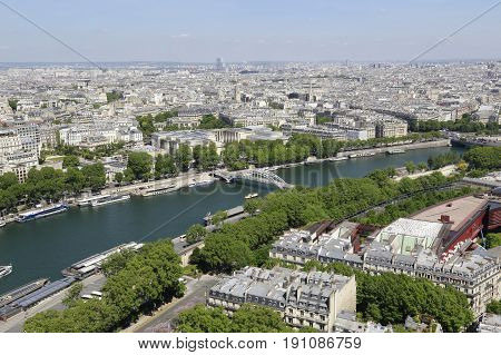 Beautiful aerial view from Eiffel Tower on Paris France
