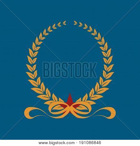 laurel wreath with ribbonsi heraldic design gold icon laurel