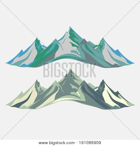 Mountaineering and Traveling Vector Illustration. Landscape Mountain Peaks. Extreme Sports Vacation and Outdoor Recreation flat design