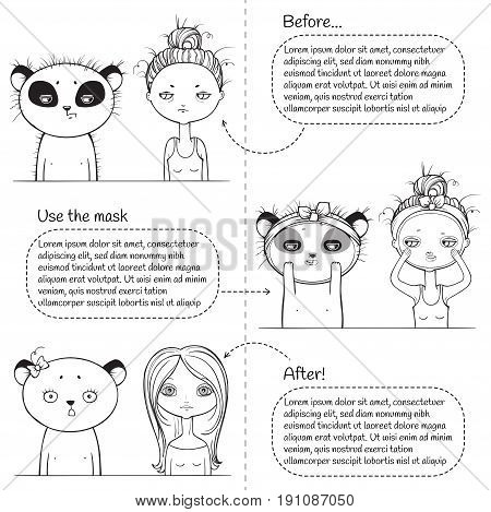3 steps Cute Facial treatment monochrome instruction, girl and panda. Vector illustration. black and white