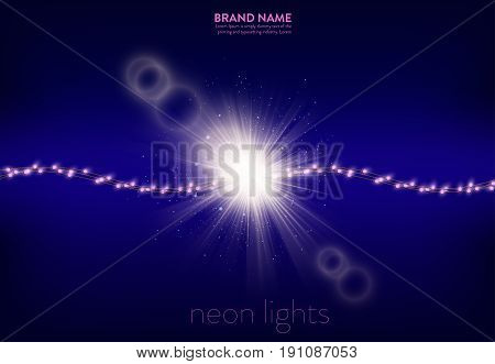 Vector illustration of a purple background with a several lines of pink neon lights and light effect on the place of wire breakage. Banner, poster for advertising holiday discounts and sales