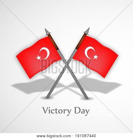illustration of Turkey Flags with Victory day text on the occasion  of Turkey Independence day