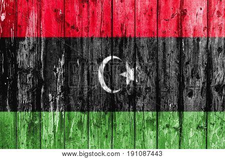 Flag of Libya painted on wooden frame