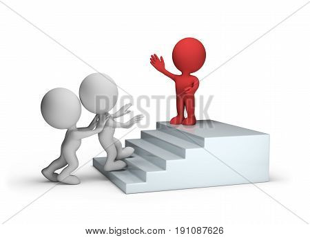 3d man climbs up the stairs to success. 3d image. White background.