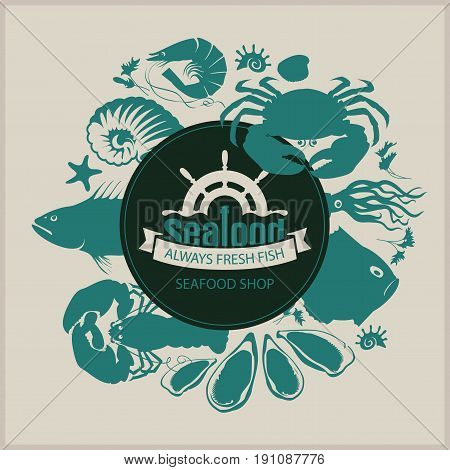 Vector banner for seafood shop with the words always fresh fish and a picture of ship wheel fish crustaceans molluscs and other marine life on the beige background in a retro style.